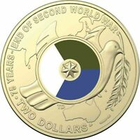 2020 75th Ann The End Of  WW11 Coloured $2 Two Dollar Coin From R.A.M Roll.