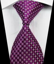 Hot! Classic Checks Purple White JACQUARD WOVEN 100% Silk Men's Tie Necktie