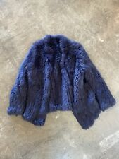 Knitted Fur Jacket Size Small Navy