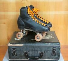 Vintage Black Leather Mens Chicago Roller Skates Sz.6 w/Birch Case Mt.Gretna,Pa.