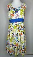 Orientique Sleeveless Floral Fit & Flare Midi Pleat Dress Size 10