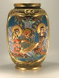 Antique Satsuma Vase Immortals Intricate Enamels