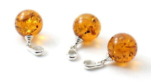 Baltic Amber Pendants - Wholesale Lot, Round Ball, Sterling Silver 925, Jewelry