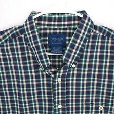 TOWNCRAFT JCPENNEY BLUE GREEN CHECK PLAID SHORT SLEEVE BUTTON SHIRT MEN'S XL