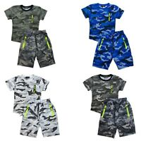 Boys Girls T-Shirt Short Set Zip Camo Kids Camouflage Summer Short Outfit Cotton