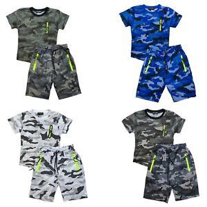 Boys Girls T-Shirt Short Set Zip Camo Kids Camouflage Summer Short Outfit Cotton
