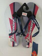 Men's Budweiser Navy Blue Gray Red White Rubber  Flip Flops Size Medium 8 9 1257