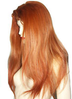 REAL Human Hair Full Lace Thin Skin Wig Silk Top Indian Remi Remy Auburn Long