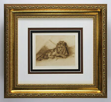 "Impressive 1800s REMBRANDT Antique Print ""Proud Lion Study"" GALLERY FRAMED COA"