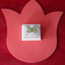 Pretty Green Peridot & CZ Silver Ring 3.4 Gr. Size P34 - US 8.5 In Gift Box