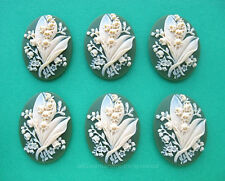 Flower on Green 40mm x 30mm craft Cameos 6 unset Ivory color Lily of the Valley