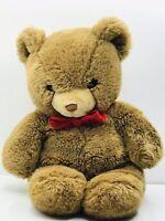 """Gund Karicas Tender Teddy Bear Brown Red Bow 13"""" Vintage 1983"""