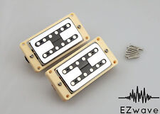 Chrome Filtertron Style Humbucker Guitar Pickup Set with Cream Mounting Rings