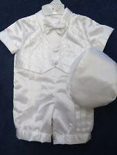 Lito childrens size 6-9 month boys white satin 2 pc. christening  set. new w/tag