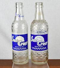 Pair Vintage Sun Crest 12 oz Soda Pop Bottles bottled in Parkersburg, WV