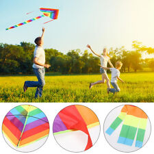 Triangle Flying Rainbow Outdoor Sport Kite Kids Adults Summer Wind Gift 95x190cm