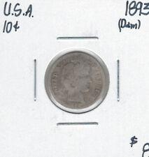 United States USA 1893 Dime 10 Cents Damaged