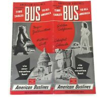 Vintage American Buslines 1952 Brochure Time Tables To All America