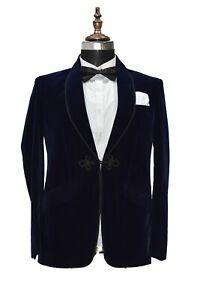 Men Navy Blue Smoking Jackets Elegant Designer Party Wear Blazer Coats UK