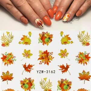 Nail Art Water Decals Transfers Winter Fall Autumn Maple Leaf Leaves (3162)