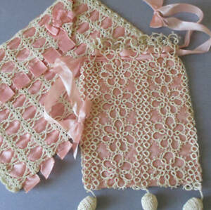 2 Antique FLAPPER Handmade PINK SILK Tatted LACE Drawstring Bag BOBBLES + Pouch