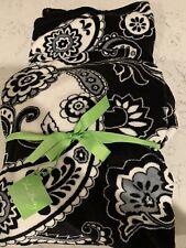 Vera Bradley Blanket Throw Cozy Midnight Paisley New NWT Black White Fleece