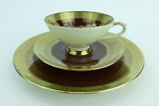 Bareuther Waldsassen Cup Saucer and Dessert Plate Set Gold Rose Bavaria Germany