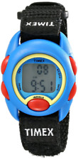 Kids Timex Blue Indiglo Sport Digital Black Nylon Fabric Band Watch TW7B99600
