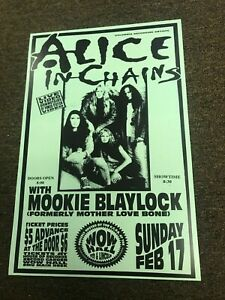 Alice in Chains Mookie Blaylock (Pearl Jam) Wow Hall 1991 Concert Poster - 12x18