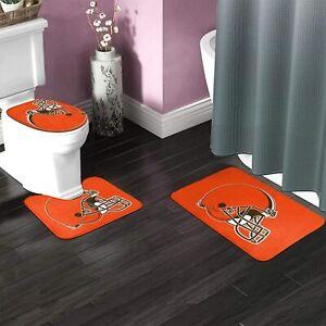 3PCS Cleveland Browns Non-Slip Bathroom Mat Set Toilet Lid Cover Contour Rug