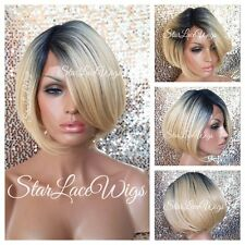 Human Hair Blend Blonde Lace Front Wig Dark Root Straight Bob Layered Heat Safe