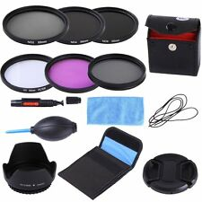 55mm UV CPL FLD ND2 4 8 Lens Filter Kit Hood Cap For Canon EOS M 2 M3 EF-M 11-22