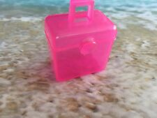 BARBIE  DOLL HOUSE DIORAMA TRANSPARENT PINK FILE CASE STORAGE CONTAINER OPENS