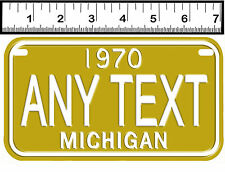 PERSONALIZED ALUMINUM MOTORCYCLE STATE LICENSE PLATE-MICHIGAN 1970