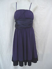 ValleyGirl Purple Dress Size M Knee Length Shoestring Straps Satin Belt #4060