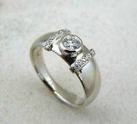 925 Sterling Silver Bezel Set Round White 0.50 Carat Cubic Zirconia Wedding Ring