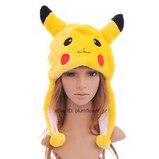 Cartoon Animal Fancy Costume Warmer Hat Cap Beanie Pikachu plush Mask Fluffy