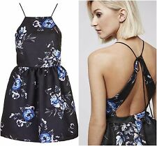 ex TopShop Jacquard Floral Strappy Open Back Party Mini Occasion Dress RRP£75.00