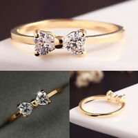 Korean Women Crystal Rhinestone 18K Gold Plated Bow Wedding Ring Jewelry Gift