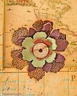 Brown & Green Leather Steampunk Flower Pin Vintage Coin Costume Hat Lapel