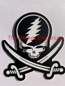 Grateful Dead Jolly Roger Pirate Sticker Water Bottle Laptop Tumbler Vinyl Decal
