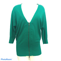 Cabi 5142 Banner Cardigan Sweater Zip Front Emerald Green Exposed Zipper Size M