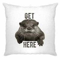 Novelty Animal Cushion Cover Get Otter Here Pun Cute Funny Animal Joke
