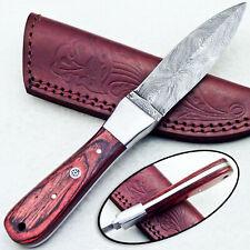 """CUSTOM DAMASCUS STEEL 8.0"""" HANDMADE FULL TANG DAGGER KNIFE - HARD WOOD - TM-8647"""