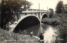 1940s RPPC Town Bridge on Little Sioux River, Spencer IA 8937 Clay Co. LL Cook