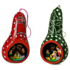 #21 Two Gourd Hand Carved Nativity Christmas Tree Ornaments Fair Trade Peru Lot