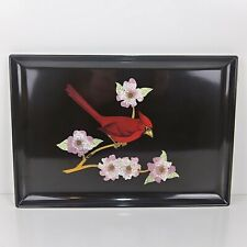 VTG Couroc  Drink Serving Tray Inlay Red Cardinal Apple Blossom Monterey ,CA 15""