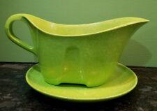Green Melamine Branchell Melmac gravy boat and plate