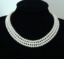 3Rows 7-8mm Natural White Akoya Pearl Fashion Jewelry Necklace AA+