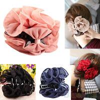 EG_ Fashion Korean Womens Chiffon Rose Flower Bow Jaw Clip Barrette Hair Claw Gi